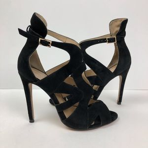 Zara Basic Black Ankle Strap Open Toe Heels